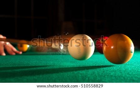 Action Shot Billiards Table Pool Cue and Balls