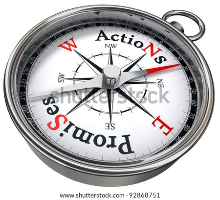 action vs promises concept compass with black red letters isolated on white background