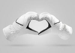 Action White gloves Isolated include clipping path