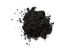 Activated charcoal powder isolated on white background,