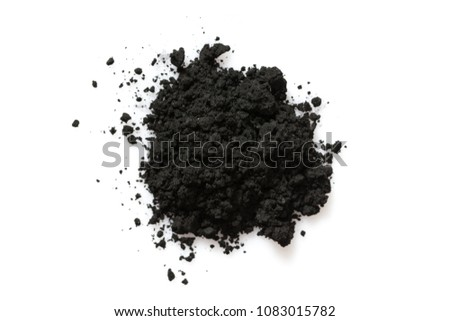 Activated charcoal powder isolated on white background, #1083015782