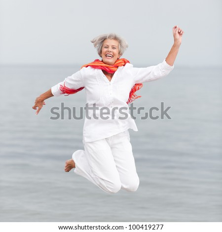 Active and happy senior woman