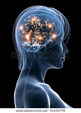 active brain illustration - stock photo