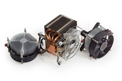 Active CPU cooler with large finned heatsink, fan, copper heat pipes and thermal pad, two coolers with aluminum finned heatsinks and fans on a white background