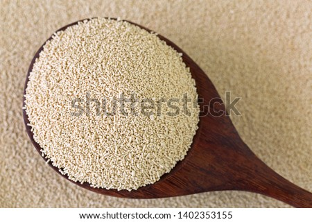 Active dry Baking yeast granules in wooden spoon, top view