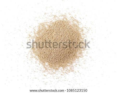 Active dry yeast isolated on white background, top view