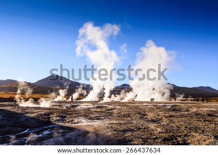 Active geysers comes out of the ground, Atacama desert, Chile
