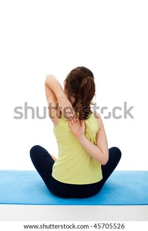 Active girl exercising isolated on white background