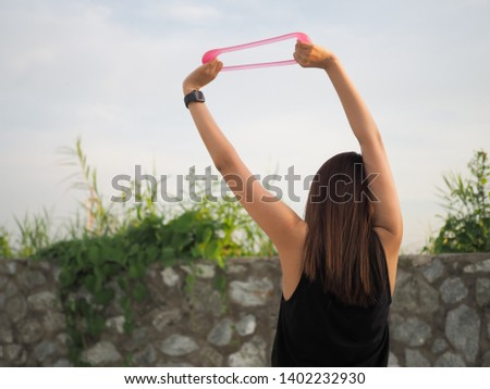 Active girl exercising outdoor, sport outdoor #1402232930