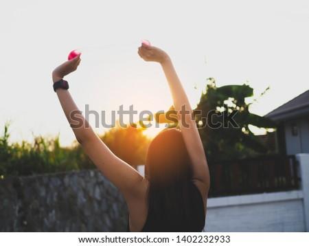 Active girl exercising outdoor, sport outdoor #1402232933