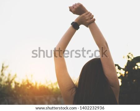 Active girl exercising outdoor, sport outdoor #1402232936
