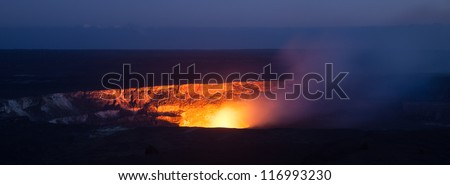 Active Halema'uma'u crater in the Kilauea caldera at Volcanoes National Park, Big Island of Hawaii.
