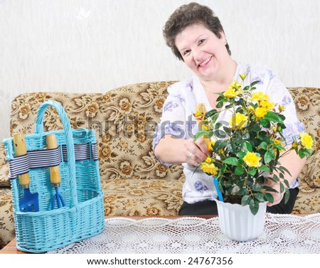 active happy woman with flower