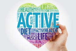 ACTIVE heart word cloud with marker, fitness, sport, health concept