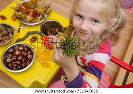active kid with autumn craftsmaship activities and hobbies #731347855