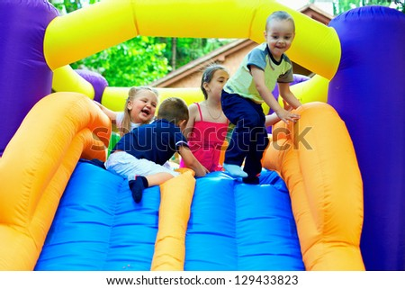 active kids having fun on playground