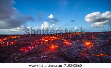active lava flow and cracks