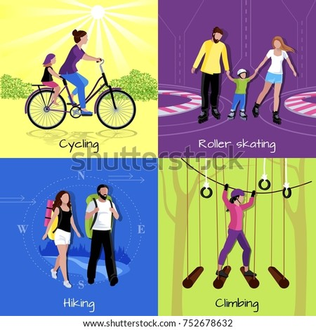 Active leisure concept with different recreations and activities in flat style  illustration