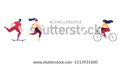 Active Lifestyle and Physical Activity Flat Web Banner or Landing Page Template with People Going Sports, Running, Ride Bicycle and Skateboarding Illustration Isolated on White Background