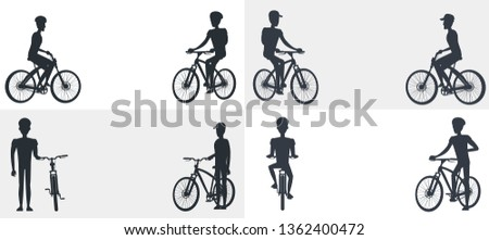 Active lifestyle set of posters with text depicting cyclists in black and white colors. isolated raster illustration sportsmen bicycles silhouettes