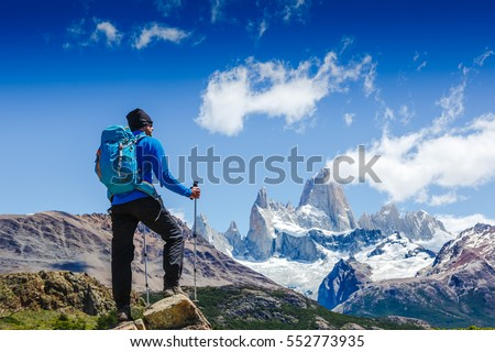 Active man hiking in the mountains. Patagonia, Mount Fitz Roy