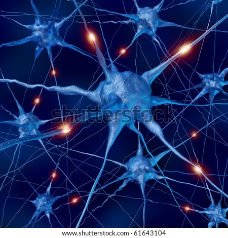 active neurons brain connections nervous system anatomy - stock photo