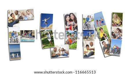 Active people men women and children playing laughing and having fun in summer and winter. Running, swimming, cycling, jumping and being active, the montage spells the word FUN