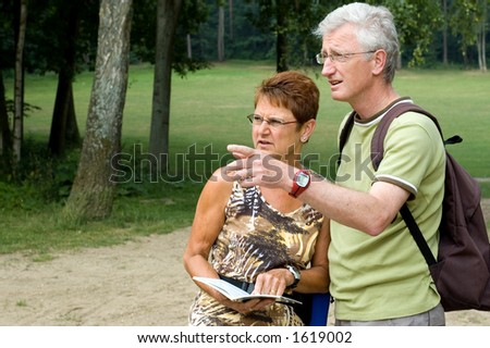 Active senior couple on a hike