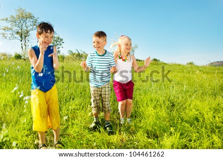 Active soaked kids in the outdoor