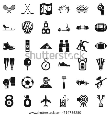 Active sport icons set. Simple style of 36 active sport  icons for web isolated on white background