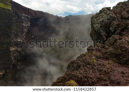 active vesuvius volcano crater...