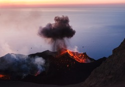 Active volcano on Stromboli island ar sunset, Aeolian islands, Sicily, Italy