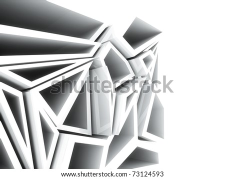 Active white geometrical background with different frames