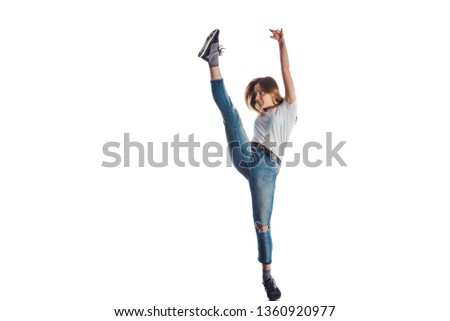 Active woman doing warm up for aerobic exercise