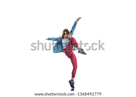 Active woman doing warm up for aerobic exercise isolated on white background