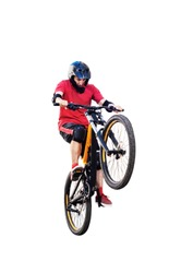 Active young biker isolated on white background. Young man riding and jumping on back wheel of mountain bicycle. Extreme sport