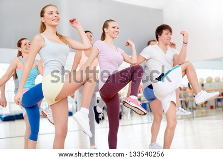Active young people in the gym