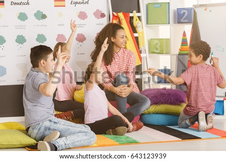 Active young students during language course for kids/Active young students/Sunny, partly cloudy, cloudy, rainy, snowy, sleeting, icy, tornado, thumde