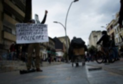 Activists demonstrator on riots demonstration at city blur . Suitable for demonstration blurry background