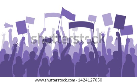 Activists protest. Political riot sign banners, people holding protests placards and manifestation banner. Jobs activist strike, vegetarians meeting or feminist demonstration  illustration