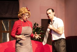 Actor and actress play comedy show play on the theater stage