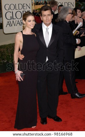 Actor CHARLIE SHEEN & actress girlfriend DENISE RICHARDS at the 59th Annual Golden Globe Awards in Beverly Hills. 20JAN2002  Paul Smith/Featureflash