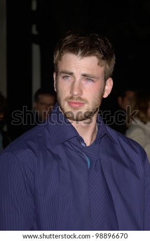 Actor CHRIS EVANS at the world premiere, in Hollywood, of his new movie The Perfect Score. January 27, 2004