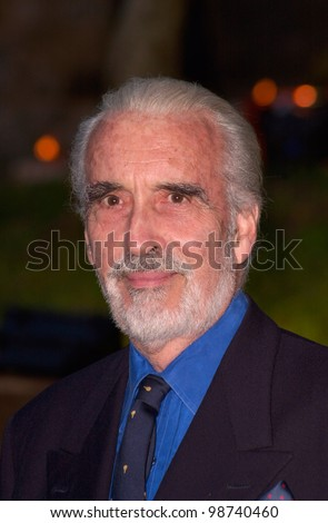 Actor CHRISTOPHER LEE at party in Cannes to promote his new movie The Lord of the Rings. The party was held in the medieval Chateau de Castellaras in Mougins. 13MAY2001.   Paul Smith/Featureflash