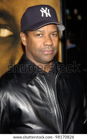 Actor DENZEL WASHINGTON at the Los Angeles premiere of his new movie John Q. 07FEB2002.    Paul Smith/Featureflash - stock photo