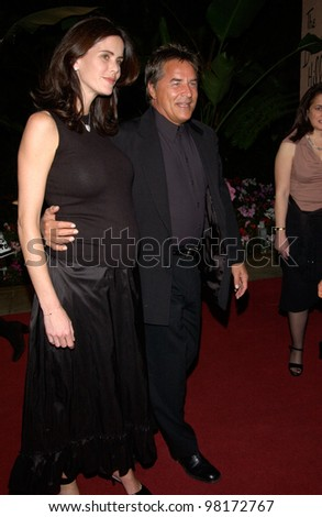 Actor DON JOHNSON & wife at pre-Grammy party given by Clive Davis of J Records at the Beverly Hills Hotel. 25FEB2002   Paul Smith / Featureflash