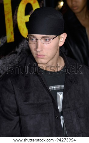 Actor/rapper EMINEM at the world premiere of his new movie 8 Mile, in Los Angeles. 06NOV2002.   Paul Smith / Featureflash