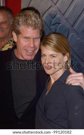 Actor RON PERLMAN & actress LINDA HAMILTON at the Los Angeles premiere of his new movie Hellboy. They starred together in the 1987 TV series Beauty & the Beast. March 30, 2004