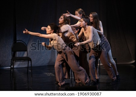 Actors and actresses play a modern lyrical performance of the theater stage show Stock fotó ©