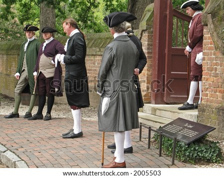 Actors in costume at colonial Williamsburg Virginia.